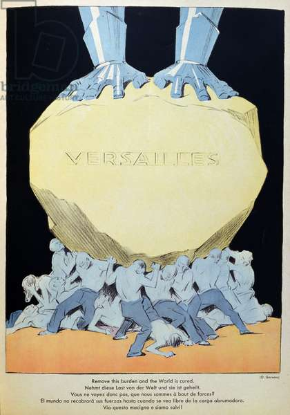 'Remove this Burden and the World is Cured', caricature of Germany crushed by the Treaty of Versailles, 1931 (colour litho)