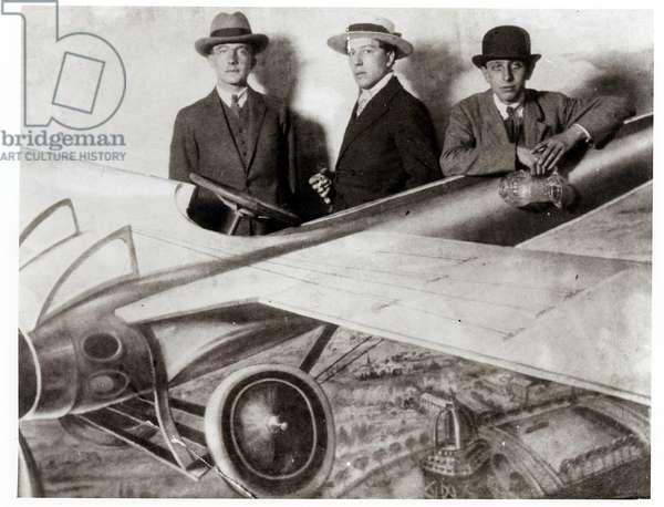 Paul Eluard, Andre Breton and Robert Desnos at the Foire de Montmartre, c.1924 (b/w photo)