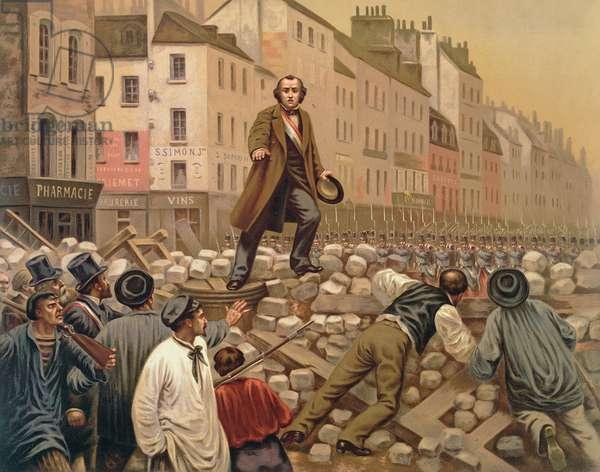 Alphonse Baudin on the Barricade of Faubourg Saint-Antoine, 3rd December 1851 (colour litho)