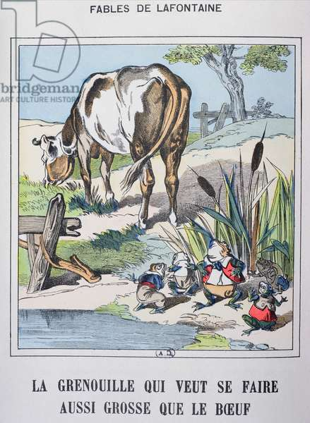 The Frog and the Ox, from 'Fables de La Fontaine' (coloured engraving)