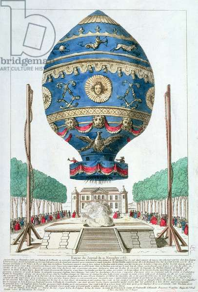 The Montgolfier Brothers' Balloon Experiment at the Chateau de la Muette, 21st November, 1783 (coloured engraving)