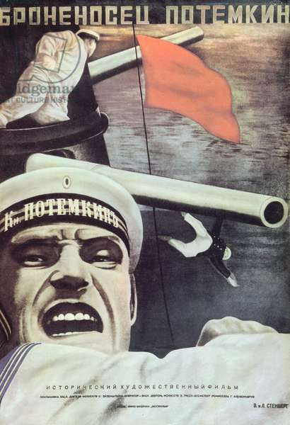 Poster for Sergei Eisenstein's film, 'Battleship Potemkin', 1925 (colour litho)