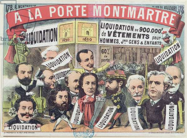 Advertisement for a clothing sale at the Paris department store 'La Porte Montmartre', c.1880 (colour litho)