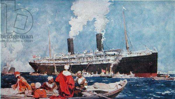 Loading a liner at a port in the Levant in the Mediterranean, early 20th century (colour litho)