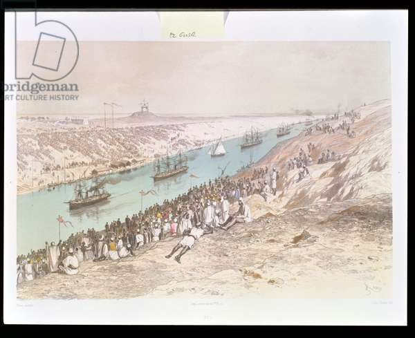 The Inauguration Procession of the Suez Canal at El-Guisr in 1865, from 'Voyage Pittoresque a travers l'Isthme de Suez' by Marius Fontane, engraved by Jules Didier (1831-c.80) 1869-70 (colour litho)