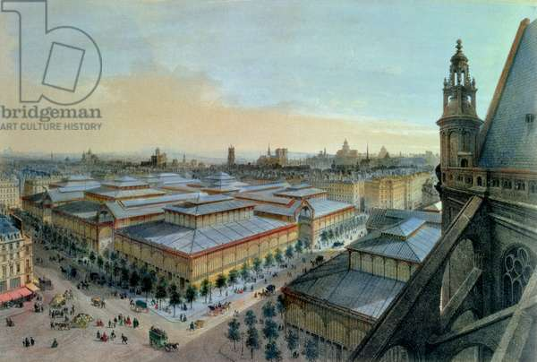 View of Les Halles in Paris taken from Saint Eustache upper gallery, c. 1870-80 (colour litho)