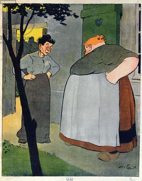 'You should do as I do, my dear. No corsets! They destroy a woman's figure', caricature on not wearing corsets, 1909 (colour litho)
