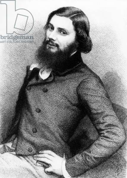 Portrait of a Young Gustave Courbet, c.1840s (engraving)