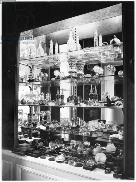 Colette's Collection of millefiore glass paperweights in her flat at Palais Royal (b/w photo)