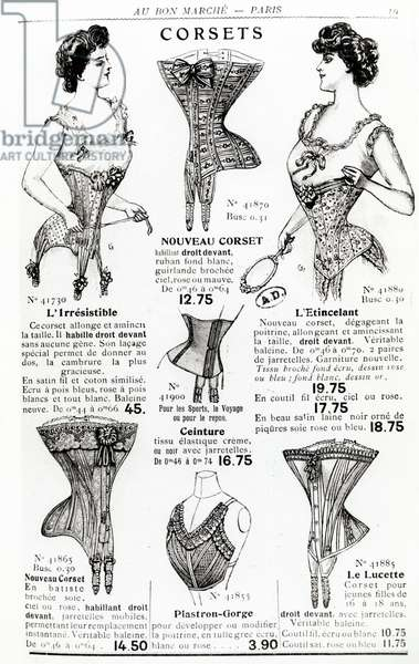 Advertisements for corsets and undergarments, from the 'Bon Marche' catalogue, before 1914 (engraving) (b/w photo)