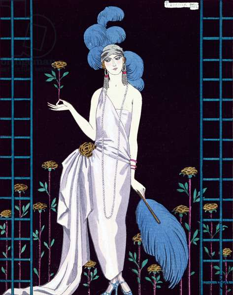'La Roseraie', fashion design for an evening dress by the House of Worth (colour litho)