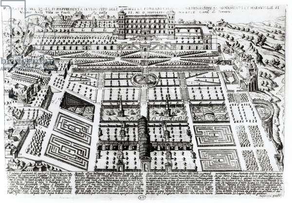 The Villa d'Este Palace and Gardens, Tivoli, Italy, c.1600 (engraving) (b/w photo)