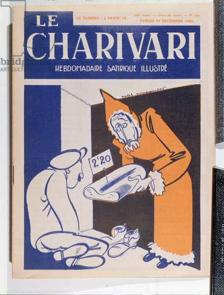 Caricature of Leon Blum (1872-1950), from the front cover of 'Le Charivari', 19th December 1936 (colour litho)