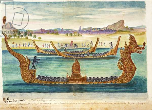 The Boats of the King of Siam, from an account of the Jesuits in Siam, 1688 (w/c on paper)