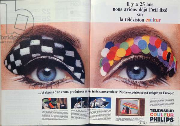 Advertisement for Philips Colour Television, from 'Realite' magazine, September 1967 (colour litho)