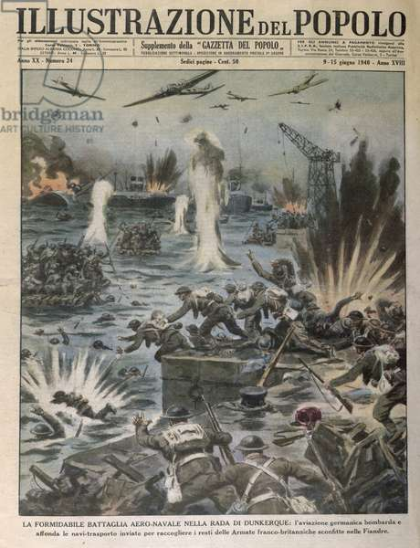 The Battle in the Air and Sea at Dunkirk, from 'L'Illustrazione del Popolo', 9th-15th June 1940 (coloured engraving)
