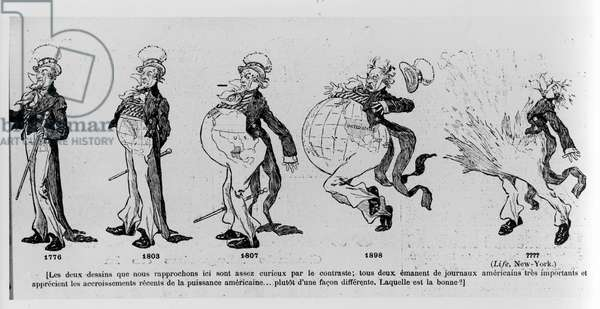 Cartoon commenting on the land acquisitions of the United States of America, illustration from 'Le Rire', 4th March 1895 (litho) (b/w photo)