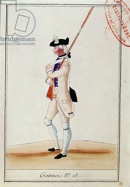 Soldier of the Grenadier Gatinois Regiment, c.1780 (colour litho)