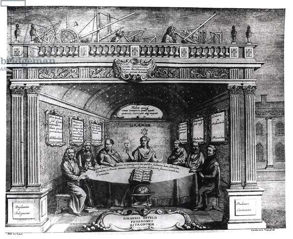 The Great Astronomers, from 'Prodomus Astronomiae' by Johannes Hevelius (1611-87) published in Gdansk, 1690 (engraving) (b/w photo)
