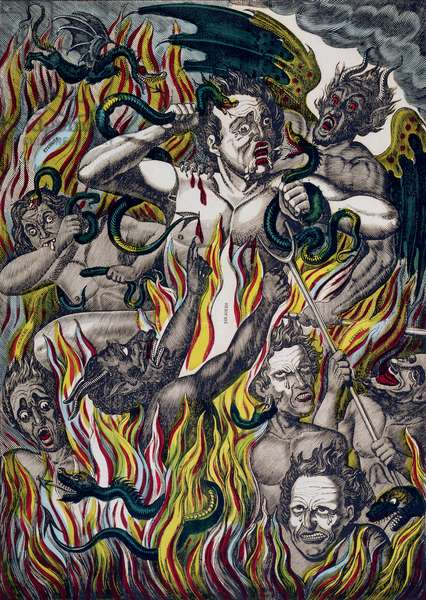 The Torment of the Damned in Hell (coloured engraving)