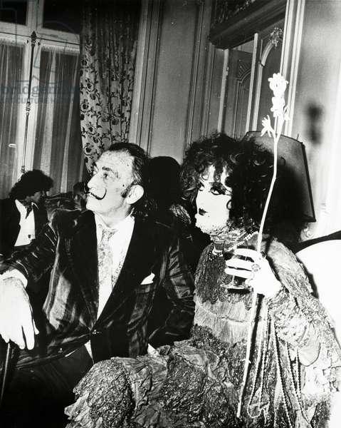 Salvador Dali , c.1970 (b/w photo)