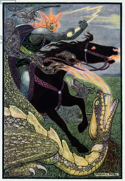Fighting a Dragon, illustration for the Russian tale, 'Falcon the Hunter', 1910 (colour litho)
