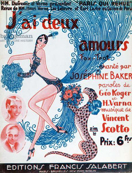 Poster advertising a performance by Josephine Baker, 1930 (colour litho)