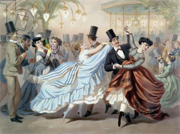 Waltz at the Bal Mabille, Avenue Montaigne, Paris (colour litho)