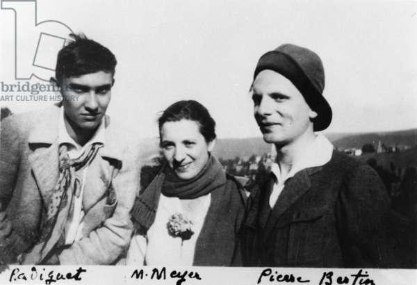 Raymond Radiguet (1903-23), M. Meyer and Pierre Bertin, c. 1920 (b/w photo)