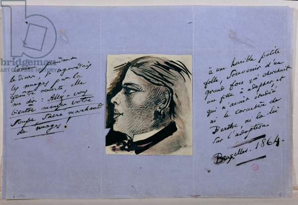Manuscript page with portrait of Berthe, Baudelaire's last mistress, Brussels 1864 (pen & ink on paper)