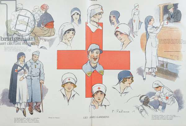 Red Cross Nurses: Guardian Angels, illustration for 'La Baionette' magazine, 1915 (colour litho)