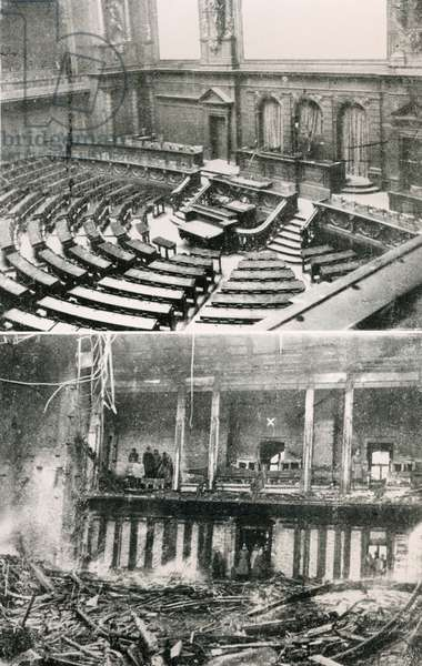 Before and after the fire at the Reichstag building, 1933 (b/w photo)