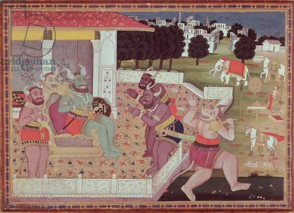 The Asura Kumbha and his Court of Demons, c.1800 (gouache on paper)