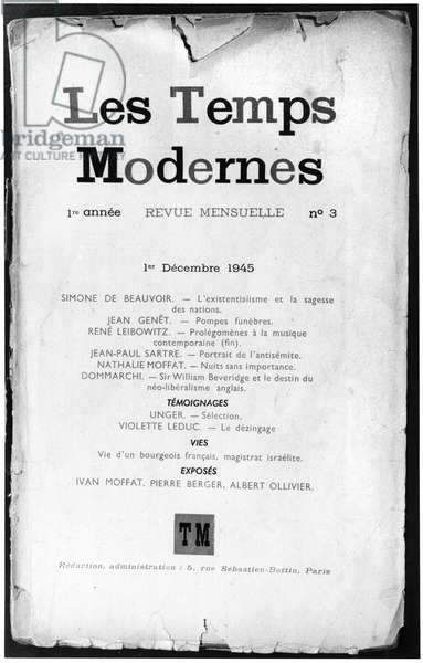 Front Cover of 'Les Temps Modernes', issue 3, 1st December 1945 (b/w photo)