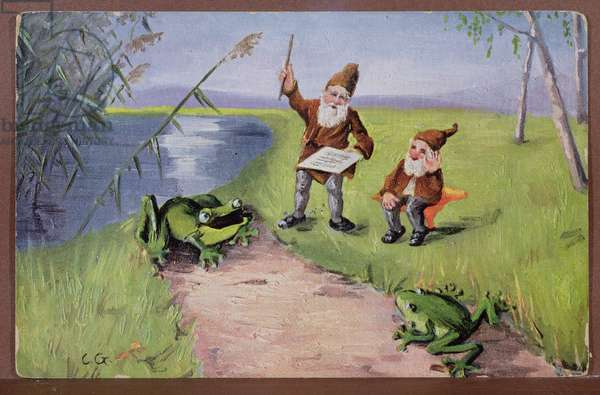 Postcard depicting dwarves and frogs singing, c.1910 (colour litho)