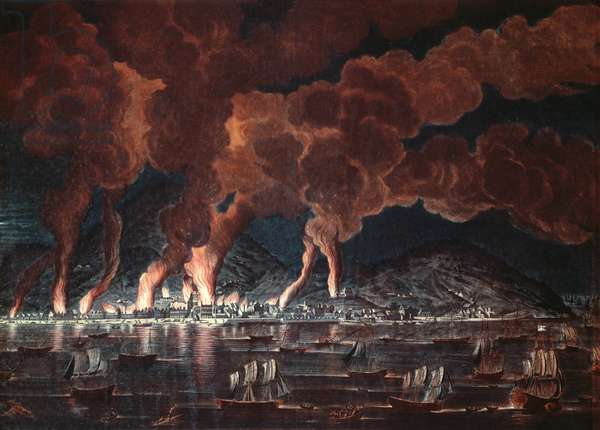 Burning of the town of Cap-Francais, Saint-Domingue (Haiti), 1795 (colour engraving)