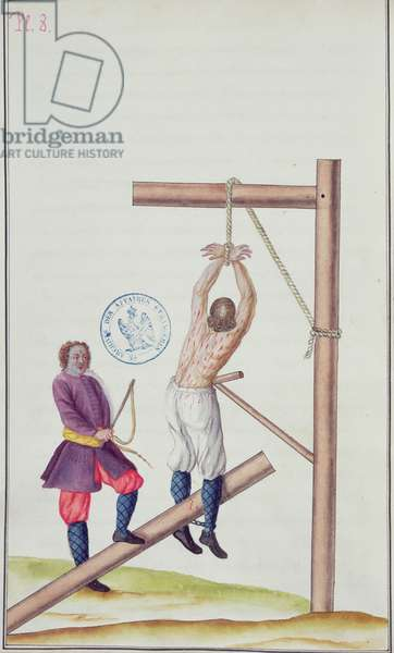 Punishment with a knout while being suspended from a rope, from 'Voyage en Russie', 1731 (pen & ink and w/c on paper)