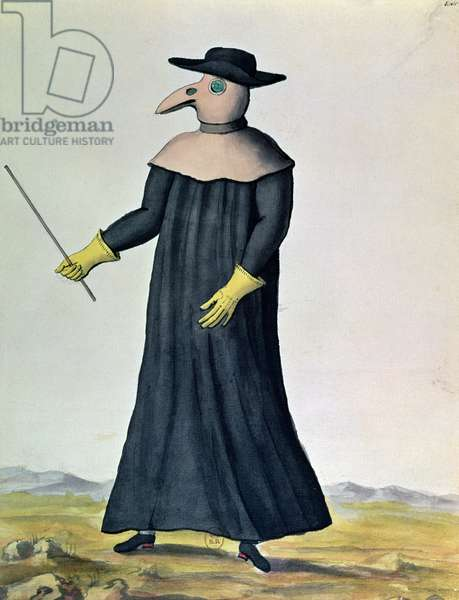Costume designed to protect doctors from the plague, 1720 (w/c on paper)