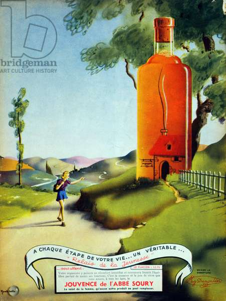Advertisement from 'Marie-Claire' magazine for Jouvence de l'Abbe Soury, 10th June 1938 (colour litho)