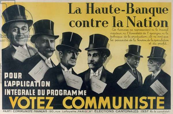 Electoral poster for the Communist Party, 1937 (colour litho)