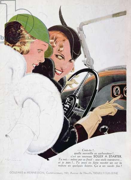 Advertisement for Solex carburettors, from 'Vogue' magazine, January, 1932 (colour litho)