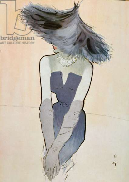 Christian Dior fashion, illustration from Femina IV, 1949 (w/c on paper)