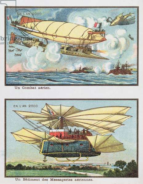 Fantasy depictions of an air battle and of an aircraft for transporting freight in the year 2000, c.1910 (colour litho)
