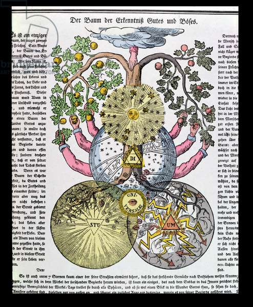 Rosicrucian allegorical representation of the Tree of Knowledge of Good and Evil, published in 1919 (colour litho)