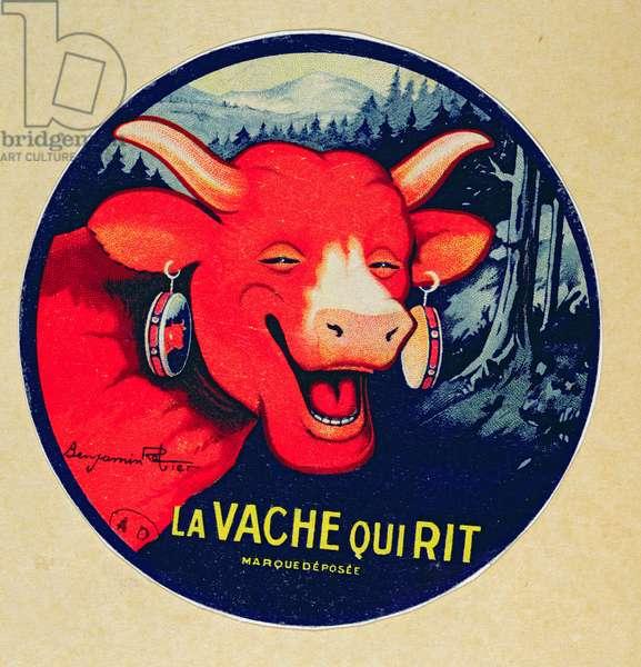 Label design for 'La vache qui rit' cheese, c.1935 (colour litho)