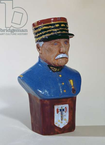 Portrait bust of Marshal Petain ( 1856-1951), c.1941 (painted terracotta)