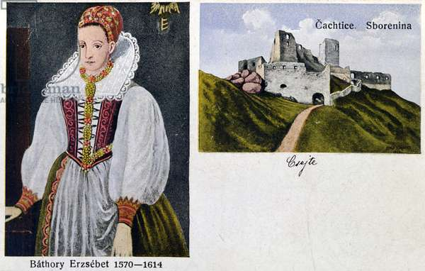 Postcard depicting Countess Elisabeth Bathory (1560-1614) and Castle Cachtice (colour litho)