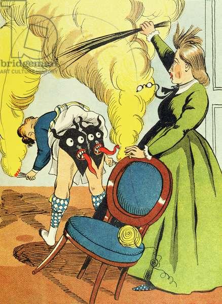 'Madame MacMiche sees the devils', illustration from 'Un Bon Petit Diable' by Comtesse Sophie de Segur (1799-1874) c.1940  (colour litho)