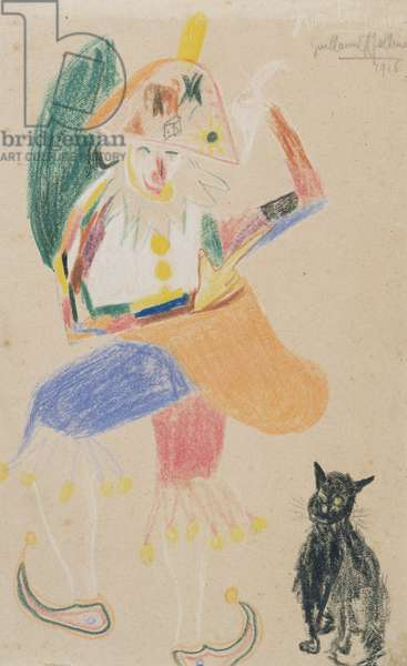Clown in a Bicorne with a Cat, drawing dedicated to Andre Rouveyre, 1916 (coloured crayon on paper)