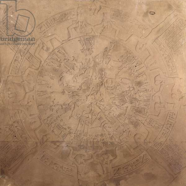 Astrological planisphere of the zodiac of Denderah, from the ceiling of the chapel at the Temple of Hathor, Denderah, Egypt, 1822 (pen, pencil & w/c on paper)
